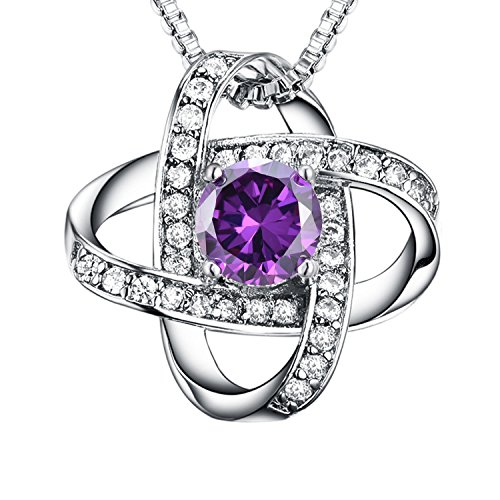 - Casfine Amethyst Birthstone Necklace - June Birthstone Necklace Jewelry Silver Amethyst Necklace AAA CZ Pendant Necklace Never Ever Be Apart for Women&Lover