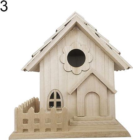 Nordic Wooden Bird Breeding House Cage Box Home Garden Balcony Pendant D CW/_ HN