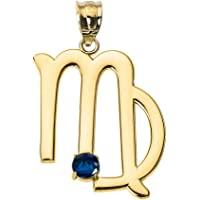 Astrology Jewelry Personalized 10k Yellow Gold Genuine Blue Sapphire September Birthstone Virgo Zodiac Charm Pendant