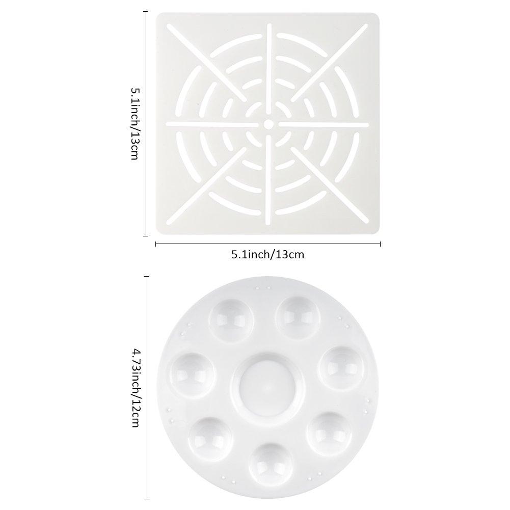 5 x brosse de peinture de mandala CCMART 20pcs Mandala pointant des outils pour la peinture de roche 1 x plateau de peinture 1 x pochoir de peinture de point de mandala 8 x tiges acryliques 5 x outils de pointage de double face de mandala