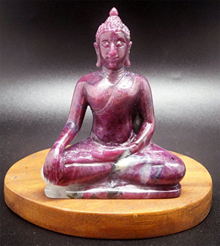 (Rare! Hand-Crafted Natural Ruby & Quartz Buddha Carving Statue 3.25