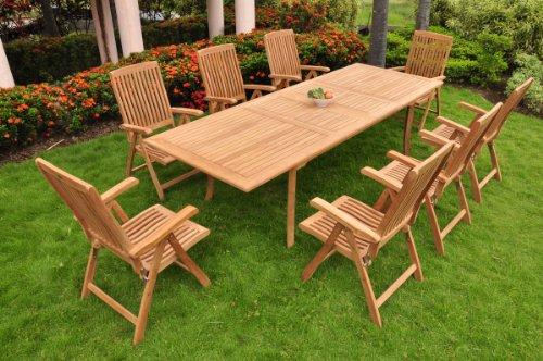 TeakStation 8 Seater Grade-A Teak Wood 9pc Dining Set: Large 117