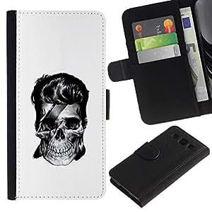 // PHONE CASE GIFT // Moda Estuche Funda de Cuero Billetera Tarjeta de crédito dinero bolsa Cubierta de proteccion Caso Samsung Galaxy S3 III I9300 / Rock Skull /