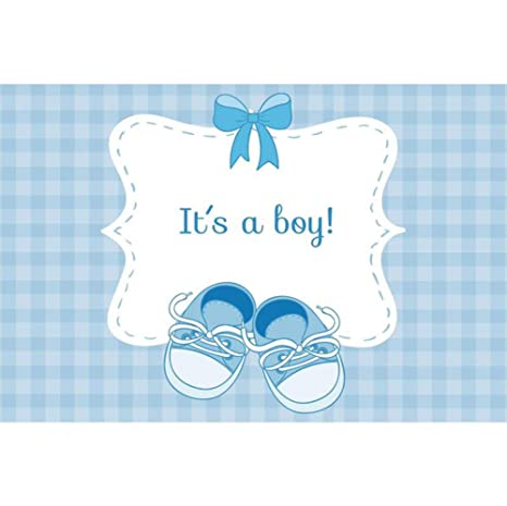 Cassisy 15x1m Vinyl Baby Shower Backdrop Its A Boy Blue Checkered Bow Baby Shoes Wallpaper Photography Backdrops For Photo Shoots Party Photo