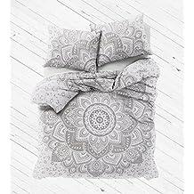 Madhu International White Silver Ombre Mandala Duvet Cover With Pillow cases, Mandala Duvet Cover, Bohemian Comforter Cover Throw Quilt Cover