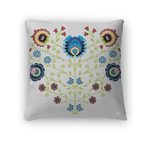 Gear New Polish Folk Floral Pattern in Heart Shape Zippered Square Pillow