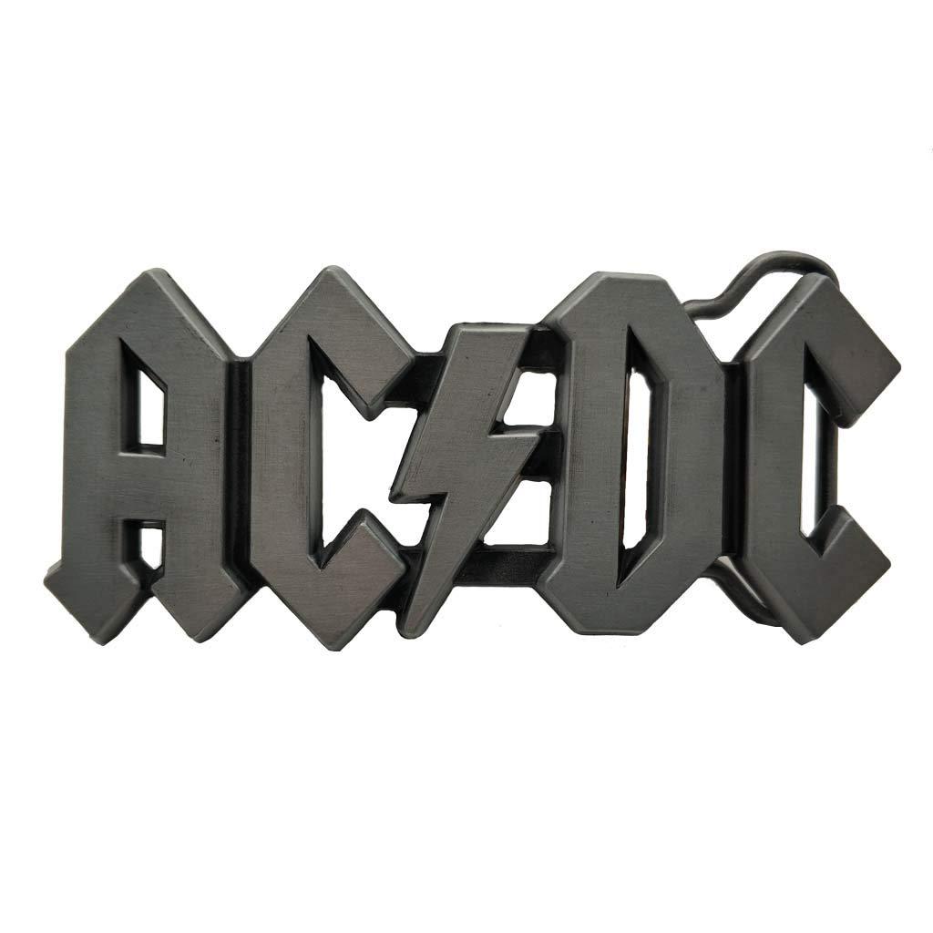 AC DC Belt Buckle ACDC Logo Rock Punk Music Buckles Grey