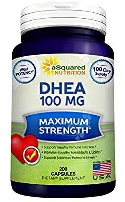 Pure DHEA (100mg Max Strength, 200 Capsules) to Promote Balanced Hormone Levels for Women & Men - Natural DHEA Supplement Pills to Support Healthy Metabolism, Libio, Brain, Immune Function & Energy