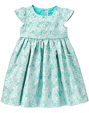 Baby Girls' Mint and Silver Floral Jacquard Dress