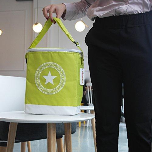Ihomagic Kühltasche für Familienpicknick, Reisen, Lebensmittelkühltasche, violett grün