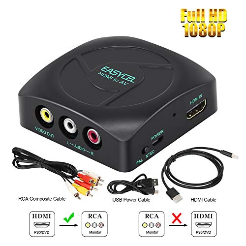 (Easycel 1080P HDMI to RCA Composite AV CVBS Converter Adapter, HDMI2AV, HDMI Input to Composite RCA AV CVBS Ouput for Roku, DVD, PS3, PS4, Amazon Fire TV Stick)