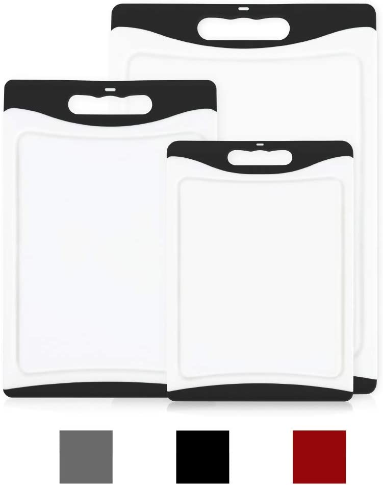 GripMAX Premium Durable Kitchen Cutting Board Set of 3, BPA Free, Dishwasher Safe, Large and Thick Plastic Chopping Mat Boards, Easy-Grip Rubber Handle, Non-Porous, Juice Grooves, 3 Piece Set, Black