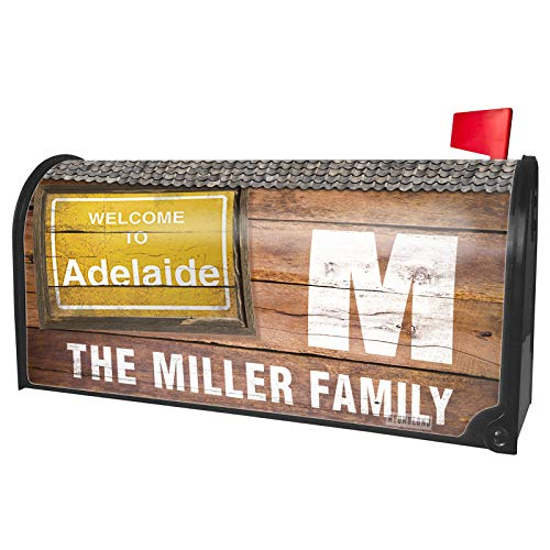 NEONBLOND Custom Mailbox Cover Yellow Road Sign Welcome to Adelaide