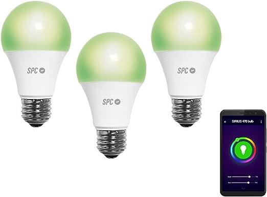 SPC Pack Bombillas Sirius 470 (3 Unidades), LED Wi-Fi E27, Blanco cálido y de Colores - Smart Home compatible con Amazon Alexa: Amazon.es: Iluminación