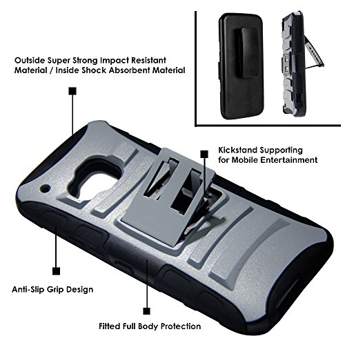 DuroCase ® HTC One M9 Hybrid Dual Layer Combat Armor Style Kickstand Case w/ Belt Clip Holster Combo - (Skull White)