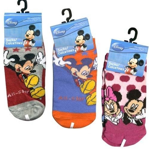 Mickey Mouse Socks - Kids Novelty Socks (3 Pair)  Size 4-6