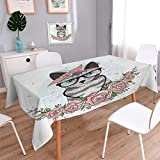 Anmaseven Kitten Oblong Patterned Tablecloth Hipster Cool Cat with Spectacles Scarf Necklace Earrings and Flowers Little Hearts Dust-proof Oblong Tablecloth Multicolor Size: W50 x L80