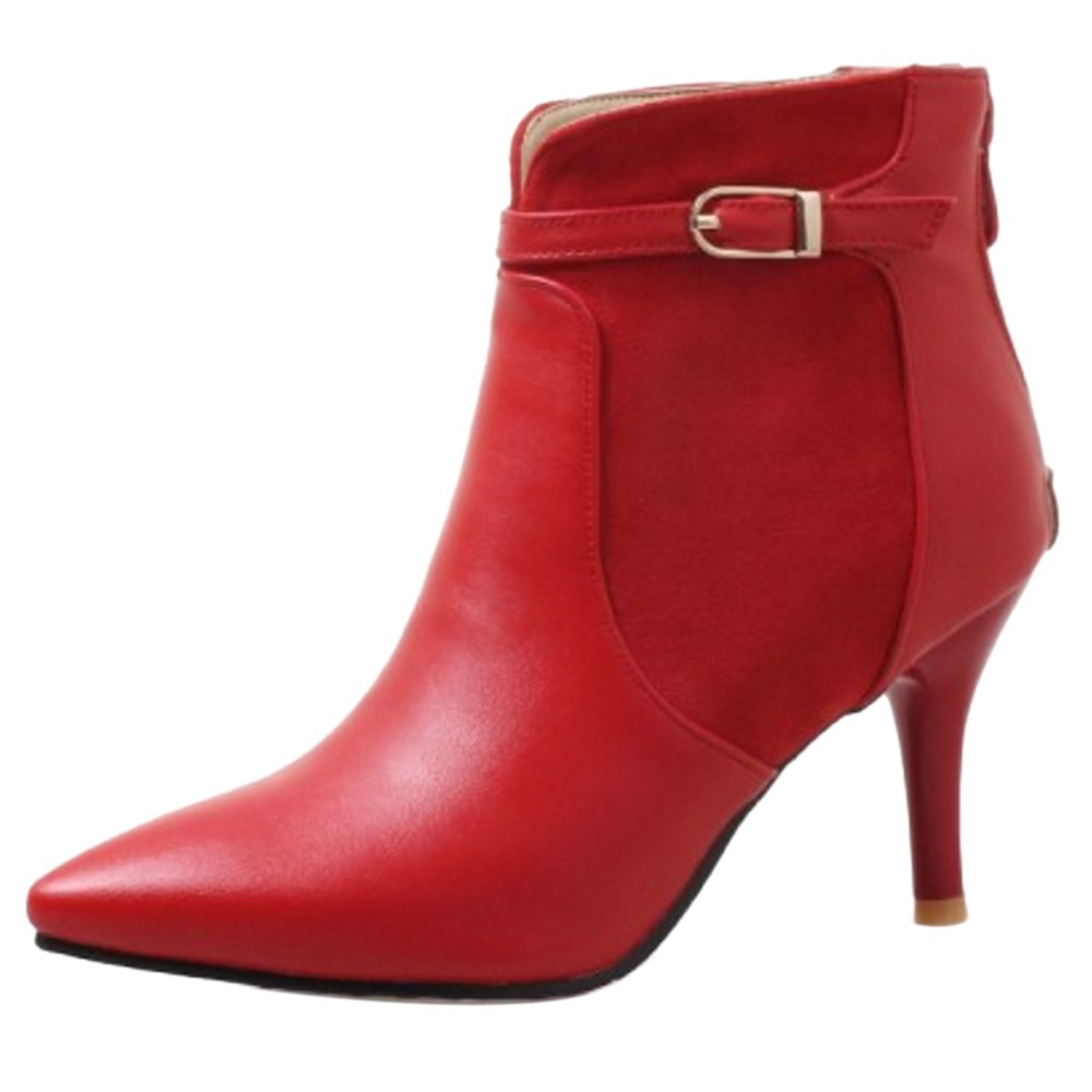 JOJONUNU 19912 Femmes Cheville Rouge Aiguille Cheville Bottes Rouge 360bf91 - therethere.space