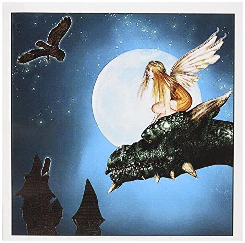 (Fairy Dragon Fantasy with Moon and Owls - Greeting Card, 6 x 6 inches, single (gc_25967_5))