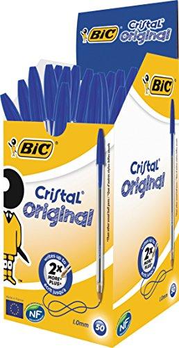 BIC Kugelschreiber Cristal Medium, Strichstärke: 0,4 mm und Kugeldurchmesser: 1,0 mm, Schachtel à 50 Stück, blau