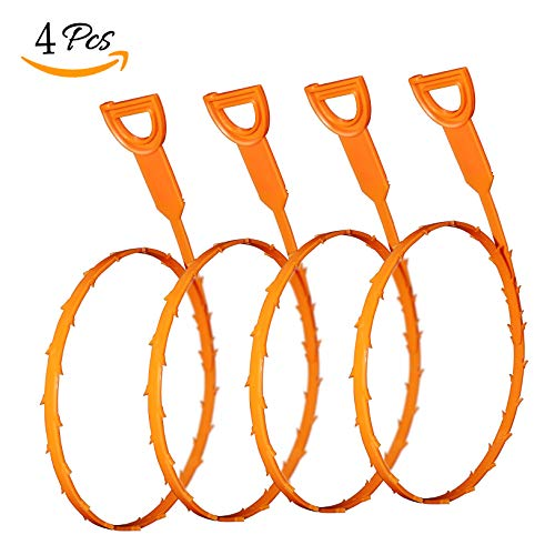 4 Pack 19.6 Inch Drain Snake Hair Drain Clog Remover Cleaning Tool (4)