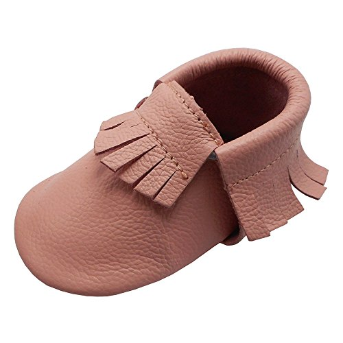 YIHAKIDS Baby Tassel Shoes Soft Leather Sole Infant Toddler Moccasins First-Walking Shoes Pink(6-12 Months)