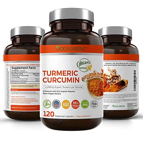 Gods Greens Organic Turmeric Curcumin Supplement 120 Veggie Caps 1,100mg Tumeric per Serving with 95% Curcuminoids and Piperine Black Pepper Extract f