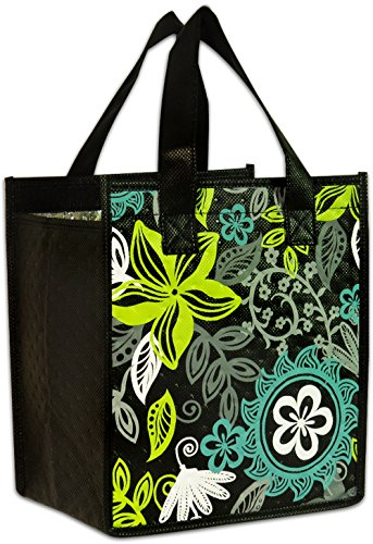 Island Impressions Tote Bag Insulated Tropical Sun Black, Green Small by KC Hawaii