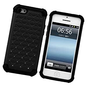 Best Diy Fabcov Packing Black Deluxe Bling Tough Hybrid Hard Rubber Cover case cover For Apple iPhone 5C AT&T Verizon Sprint nhyMxQ7ZZhO