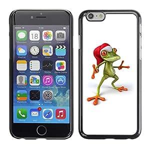 TopCaseStore / la caja del caucho duro de la cubierta de protección de la piel - Frog Christmas Elf Happy - Apple iPhone 6