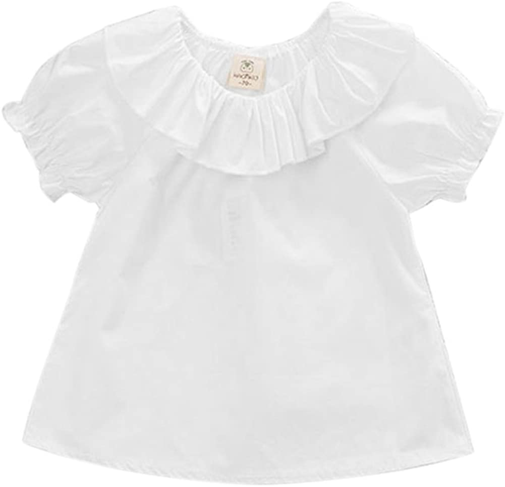 Weixinbuy Baby Girls Ruffled Neck Bloomer Short Sleeve White T-Shirt Tops Blouse