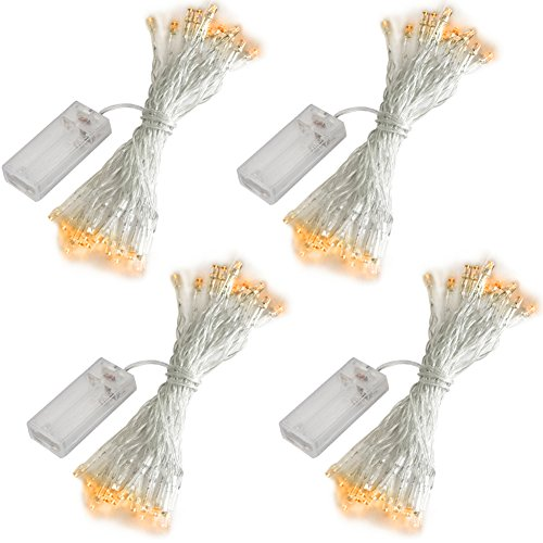 Accmor 4 Pack 10ft/3m 30 LEDs Mini Bulb Battery Operated Fairy String Lights,Super Bright Starry Lights for Gift Wedding Party Bedroom Home Halloween Decoration, Crafts (Warm -