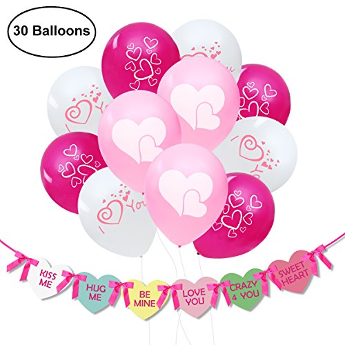 UNOMOR Wedding Balloons Decorations with Heart Banner for Engagement Anniversary - Dates Fun Day Valentines