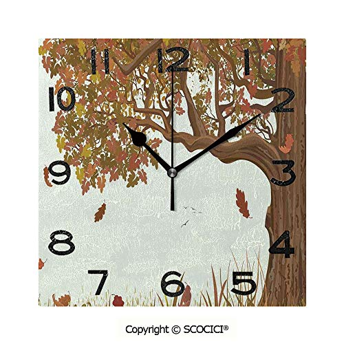 SCOCICI 8 inch Square Clock Autumn Season Fall Shady Deciduous Oak Leaves in Park Countryside Artwork Unique Wall Clock-for Living Room, Bedroom or Kitchen Use