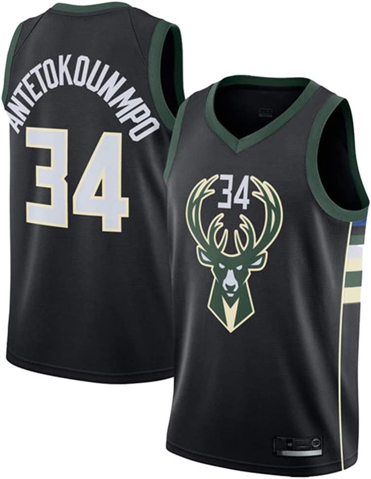 GRYUEN Herren Frau Milwaukee Bucks 34# Antetokounmpo Jerseys Basketballhemd Atmungsaktiv Mesh Trikots Basketballuniform Stickerei Tops Basketball Anzug
