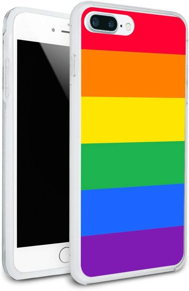 Rainbow Pride Gay Lesbian Contemporary Protective Slim Fit Hybrid Rubber Bumper Case for Apple iPhone 7 Plus