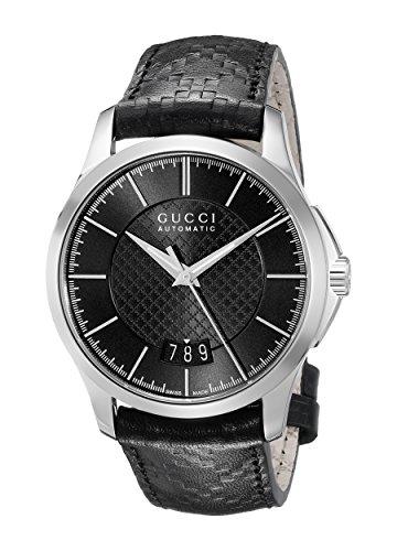 Gucci G-Timeless Automatic Medium Black Dial Black Leather Ladies Watch YA126430