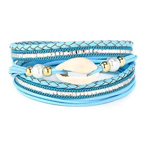 Eivanc Blue Shell Multi-Layer Leather Bracelet -Wrap Bracelet Boho Braided Cuff Bangle Crystal Bead Bracelet Rhinestone Handmade Magnetic Clasp Bracelet for Women