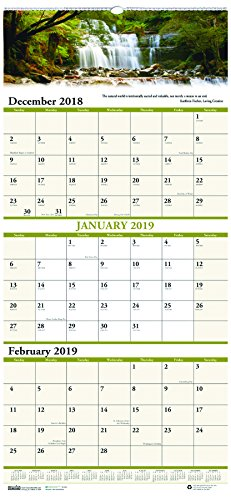 House of Doolittle 2019 Wall Calendar, Three-Month View, Earthscapes Scenic, 12.25 x 26 inches, December - January (Vertical Weekly Calendar)