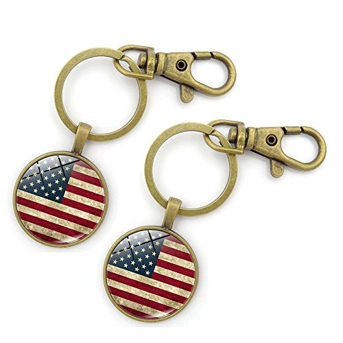 Key Chains Rings Keychains American USA Flag Round Model Clip Hooks Men Women Retractable Decorations Loop Clasp 2 pcs【1797】 - Models Male Usa