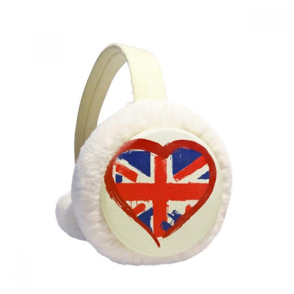 Love Heart UK England Landmark Winter Earmuffs Ear Warmers Faux Fur Foldable Plush Outdoor Gift