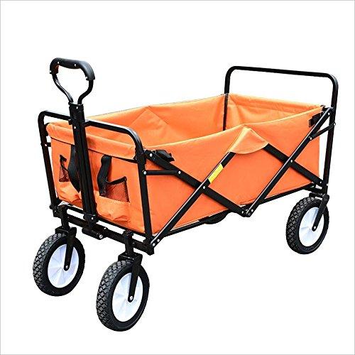 キャリーカートアウトドアワゴン手押し車 ポータブル ベルトベルト オックスフォード布 重い負担 スチールフレーム アウトドア、 85×50×28cm、 7色 (色 : Orange) B07G16RM9S Orange Orange