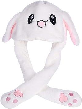 Coniglio Cappello Dell'orecchio di Coniglio Peluche l' Orecchio può Muoversi su e Giù con Airbag per Attraente Giocattoli Regalo di Compleanno(Blanc)