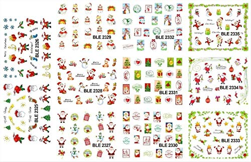 (LARGE 1SET(11 DESIGNS IN 1) NAIL ART WATER TRANSFER STICKERS DECALS CHRISTMAS DECO SET SNOWMEN FIGURES - Stickers & Decals)