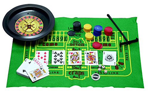 - 5 in 1 Casino Games Set Roulette ,Poker , Black Jack , Craps , has Chips ,Mats , Dices , Cards,