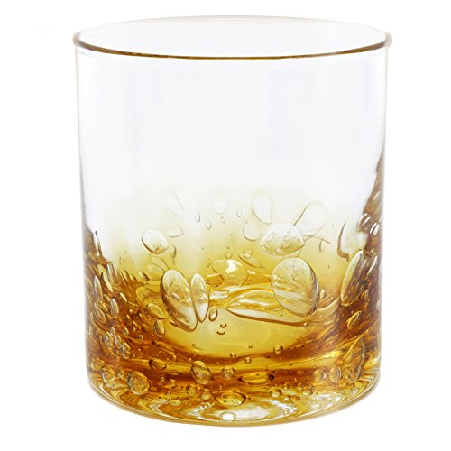 NÄU Zone Jovian Collection Cocktail Glasses Set of 4: Beautiful Hand-Blown 12-oz Rocks Glasses - Perfect for Whiskey, Bourbon, Scotch, or Any Mixed Drink - [AMBER]