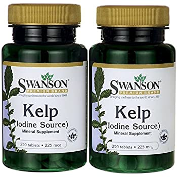 Swanson Premium Brand Kelp  Iodine Source  225 mcg  2 Bottles each of 250 Tablets