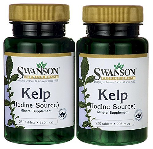 Swanson Premium Brand Kelp  Iodine Source  225 mcg  2 Bottles each of 250 Tablets For Sale