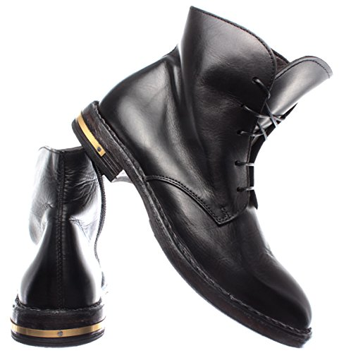 Negro Vintage Pelle Zapatos Botines Mujer Moma Piel In r2 83705 Italy Made 0qnX88x