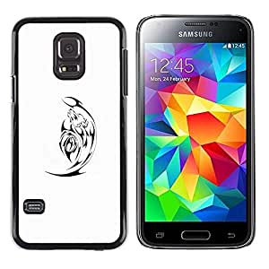 Paccase / SLIM PC / Aliminium Casa Carcasa Funda Case Cover - Black Minimalist White Satan - Samsung Galaxy S5 Mini, SM-G800, NOT S5 REGULAR!